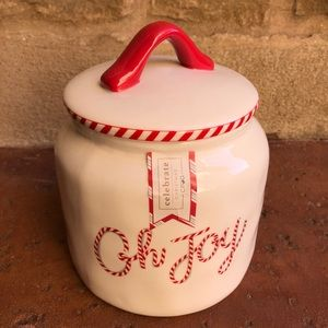 "Christmas Cookie Jar Canister ""Oh Joy"" Ceramic NWT"